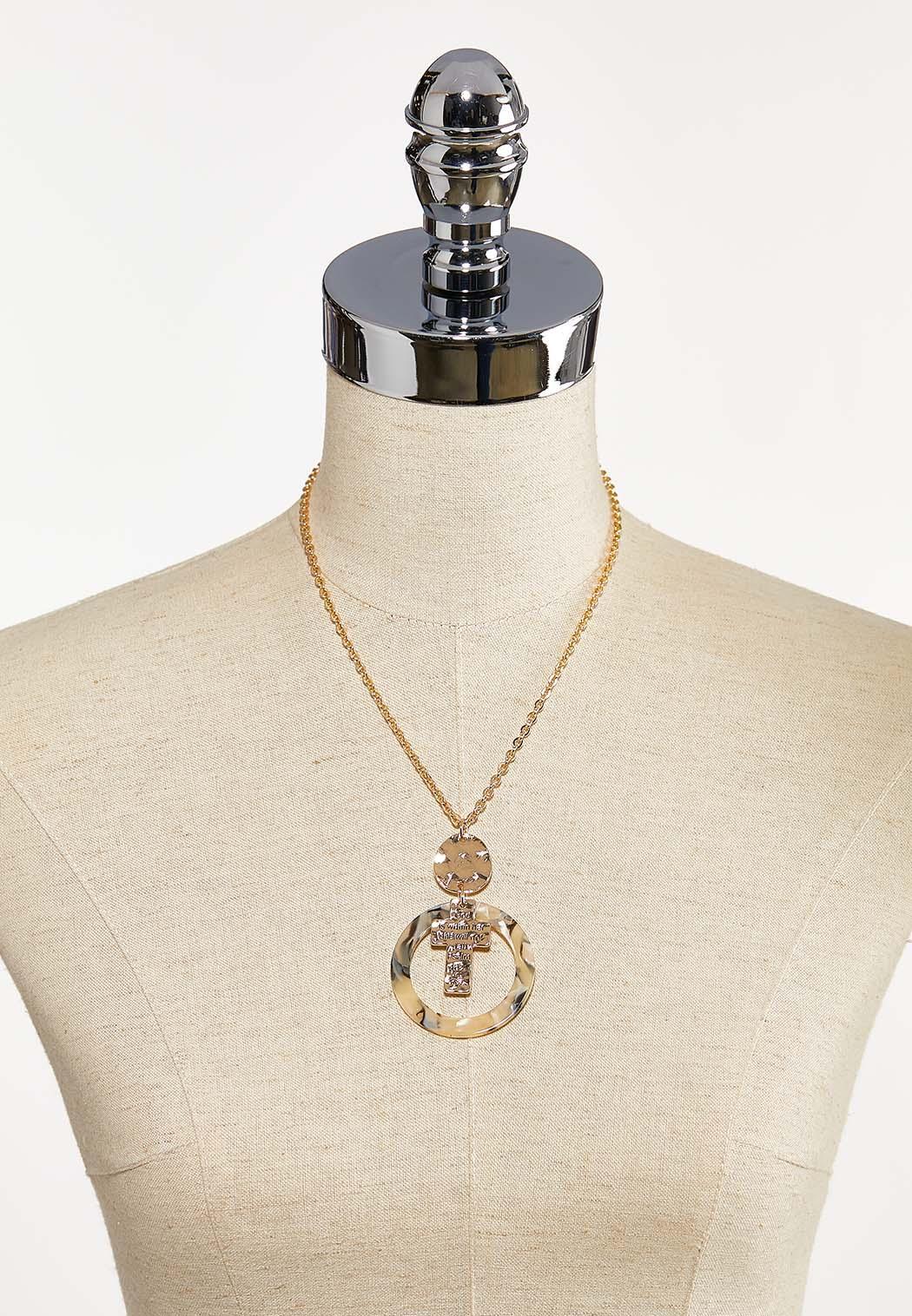 Lucite Circle Cross Necklace (Item #44216509)