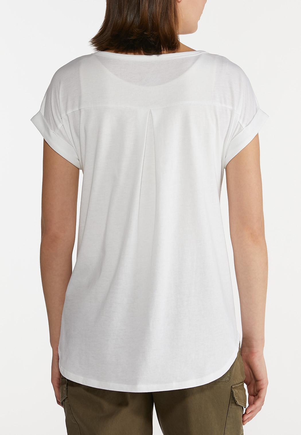 Plus Size Solid Roll Sleeve Tee (Item #44217969)