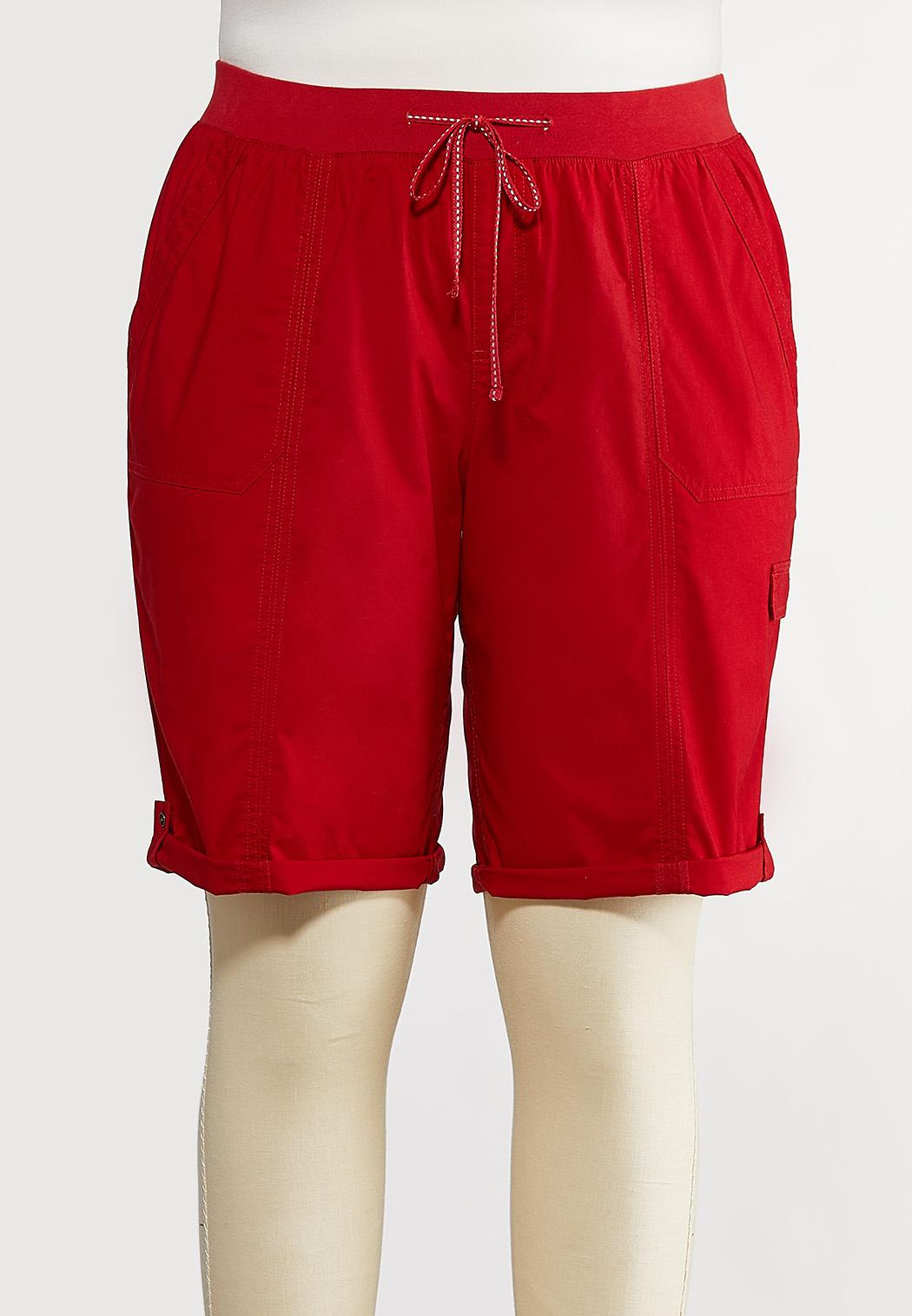 Plus Size Solid Cargo Shorts (Item #44218034)