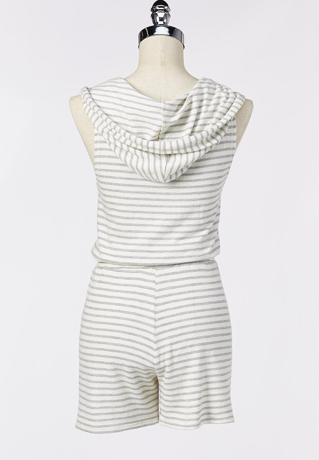 Stripe Hooded Terry Romper (Item #44218694)