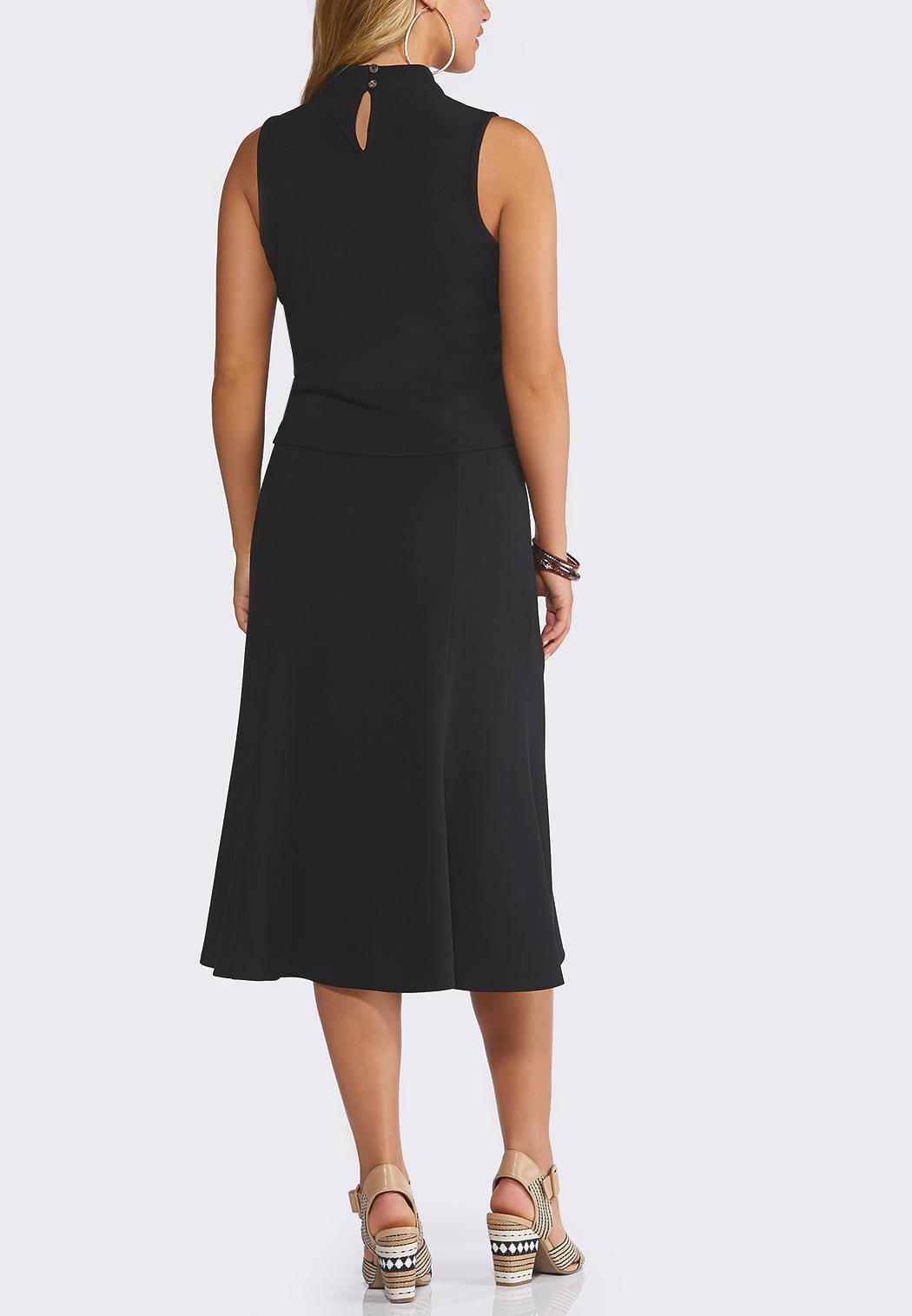 Plus Size Ribbed Mock Neck Skirt Set (Item #44219586)