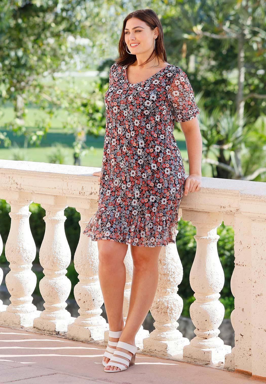 Plus Size Ruffled Floral Flounce Dress (Item #44219814)