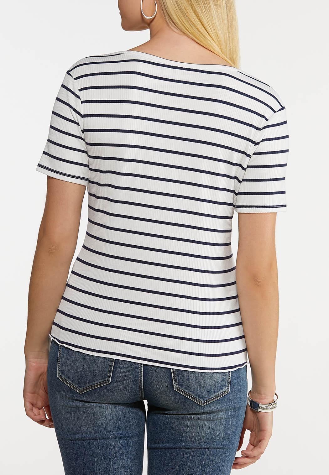 Plus Size Striped Zip Neck Top (Item #44220230)
