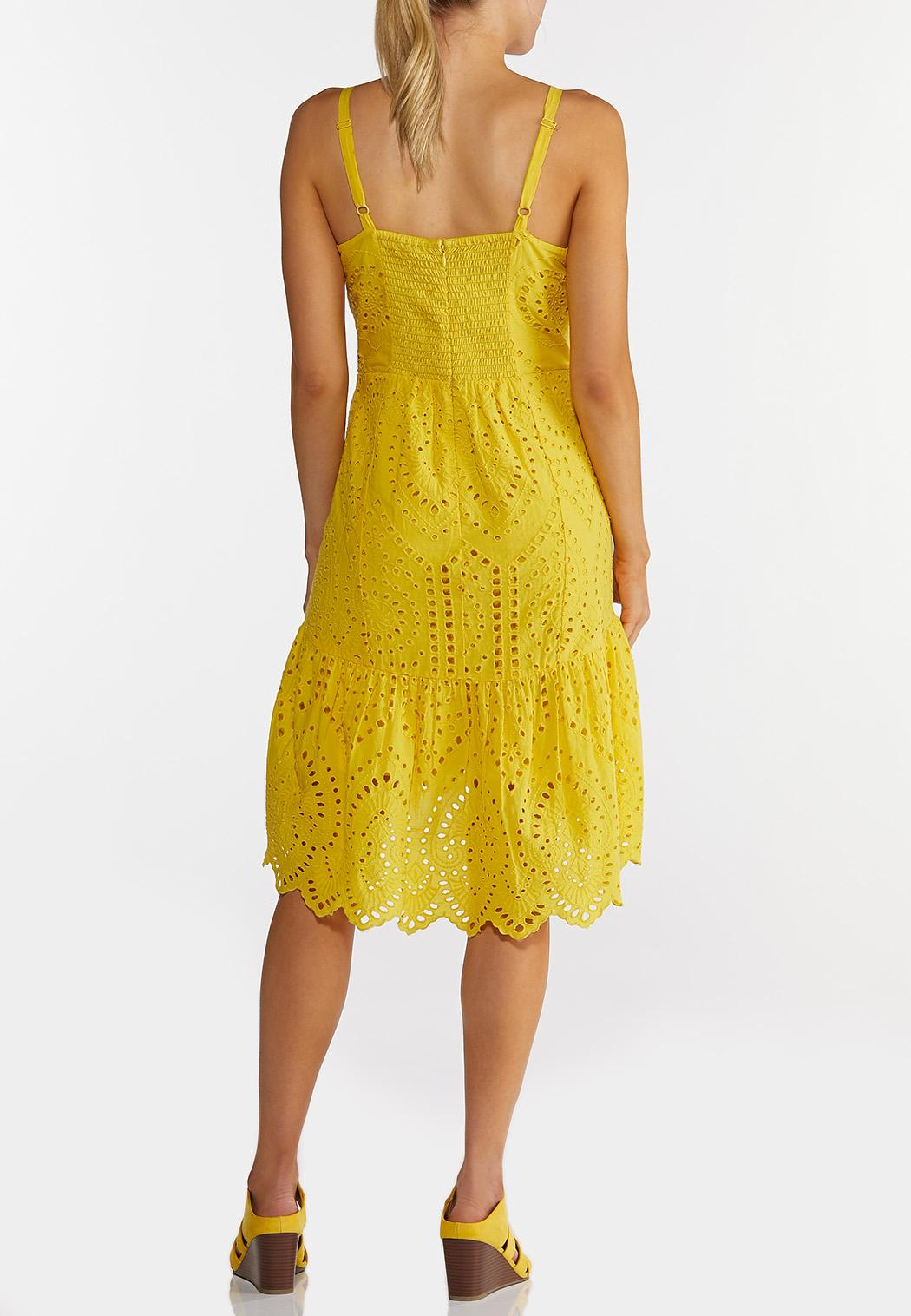 Plus Size Yellow Eyelet High-Low Dress (Item #44220308)