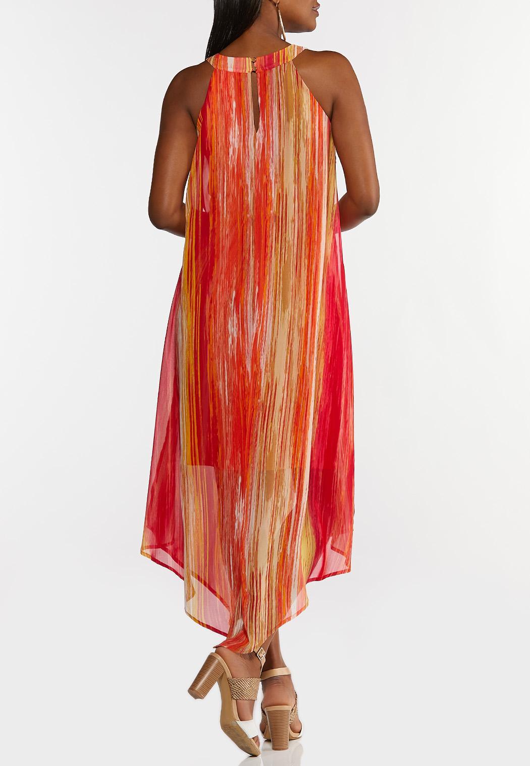 Plus Size Melon Stripe Flyaway Dress (Item #44220438)