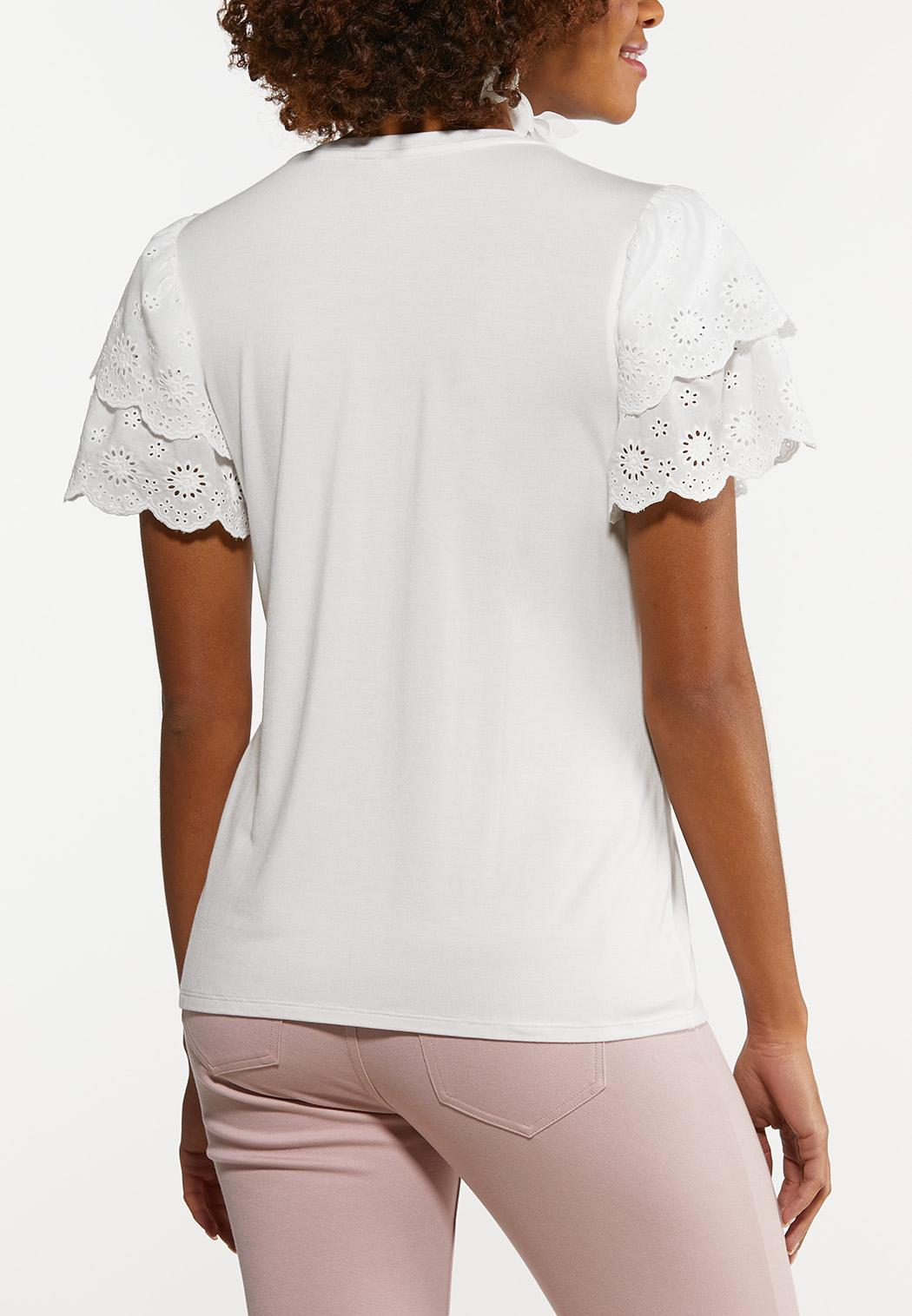 Plus Size Tiered Eyelet Sleeve Top (Item #44222502)