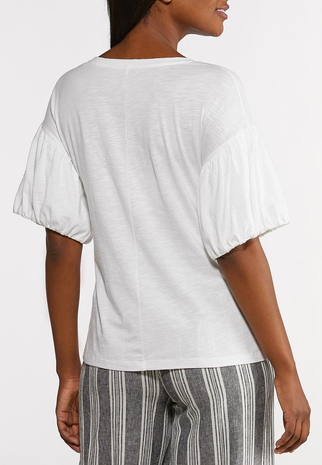Plus Size White Balloon Sleeve Tee (Item #44222604)