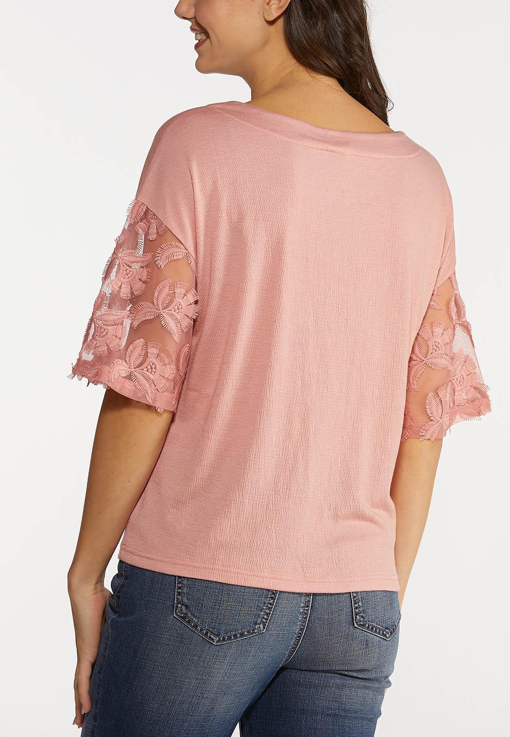 Embellished Mesh Sleeve Top (Item #44222998)