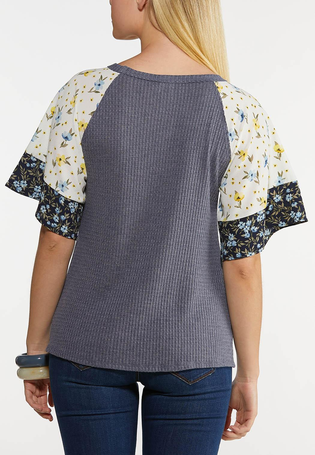 Plus Size Floral Crepe Waffle Top (Item #44223476)