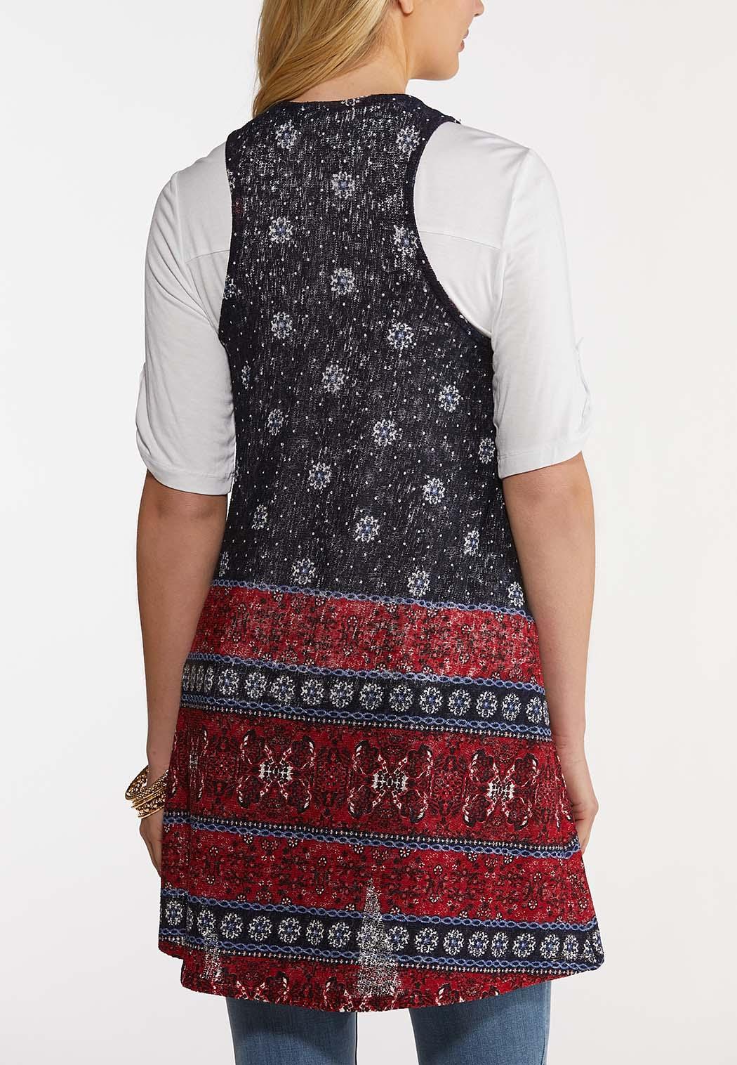 Plus Size Border Medallion Hacci Vest (Item #44223589)