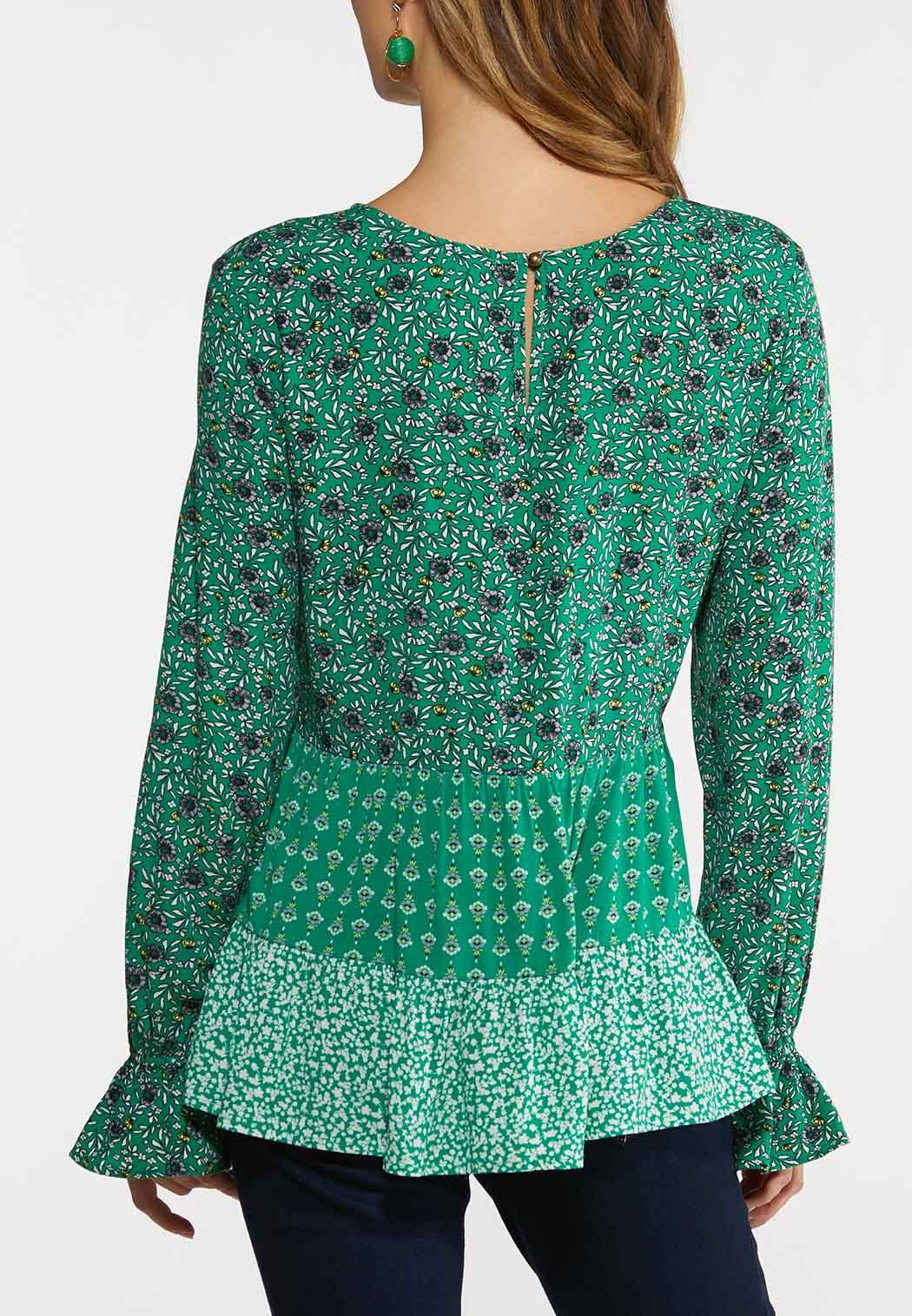 Plus Size Green Mixed Floral Top (Item #44224679)