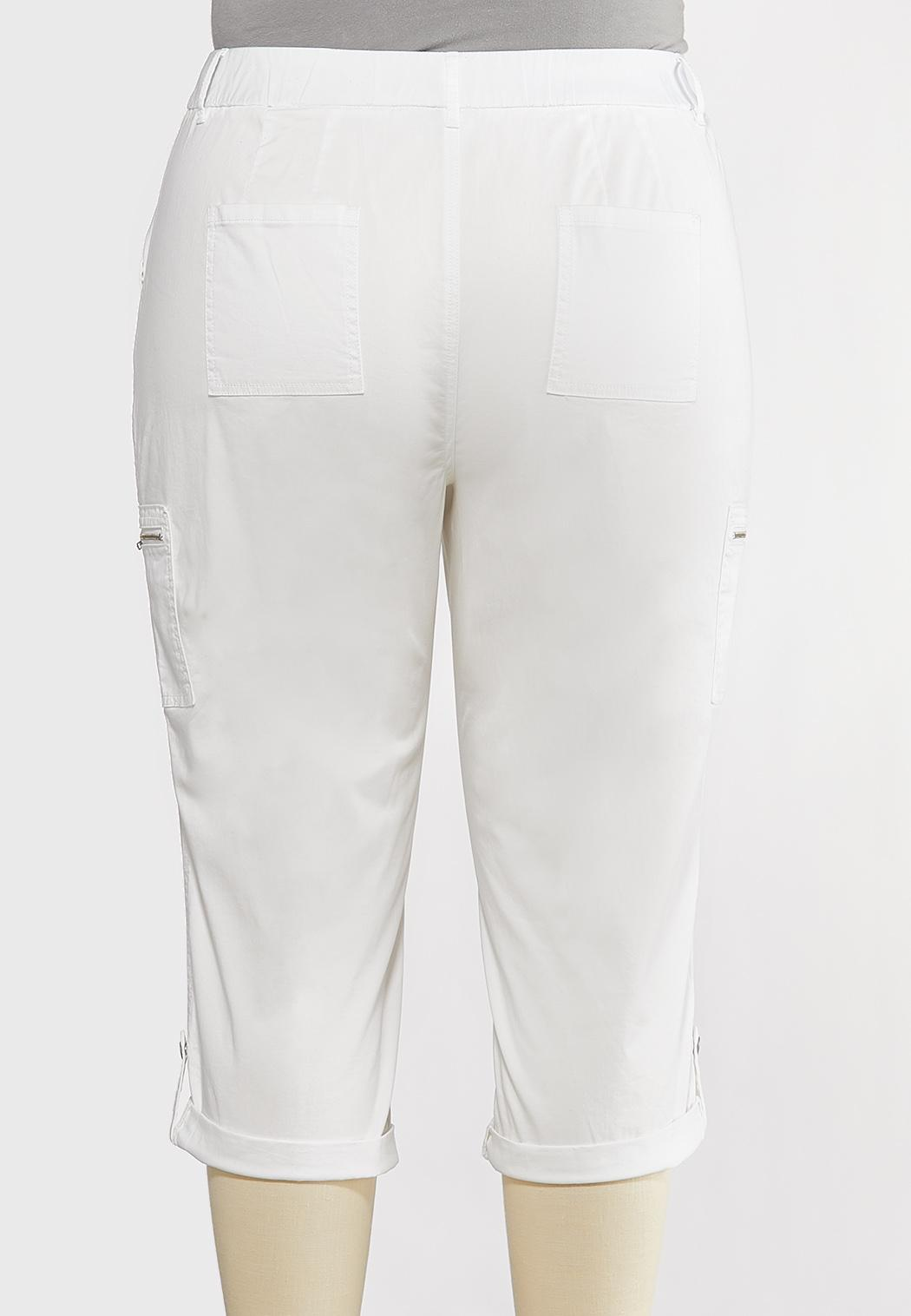 Plus Size Cropped Utility Cargo Pants (Item #44224743)