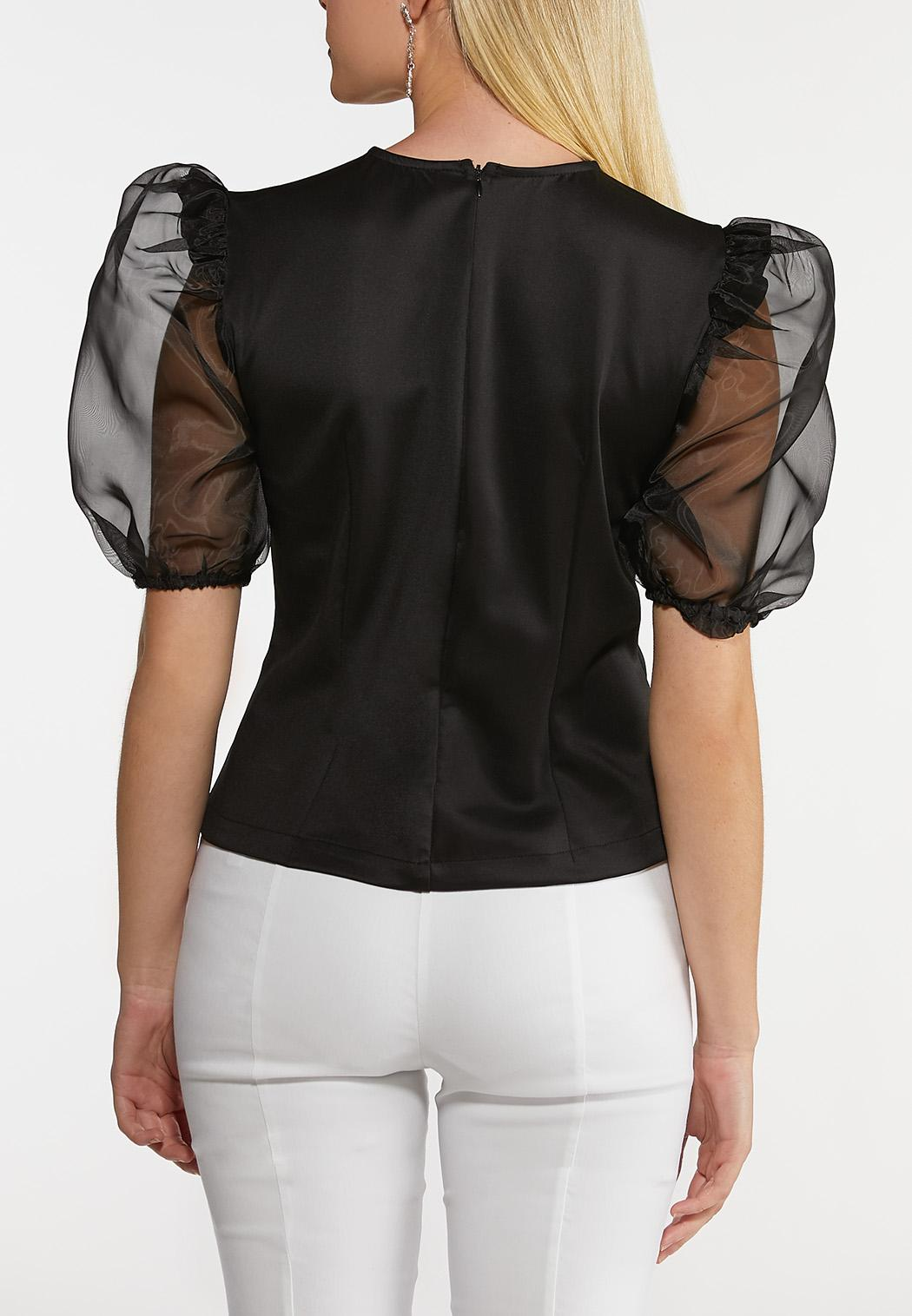 Plus Size Sheer Puff Sleeve Top (Item #44224744)