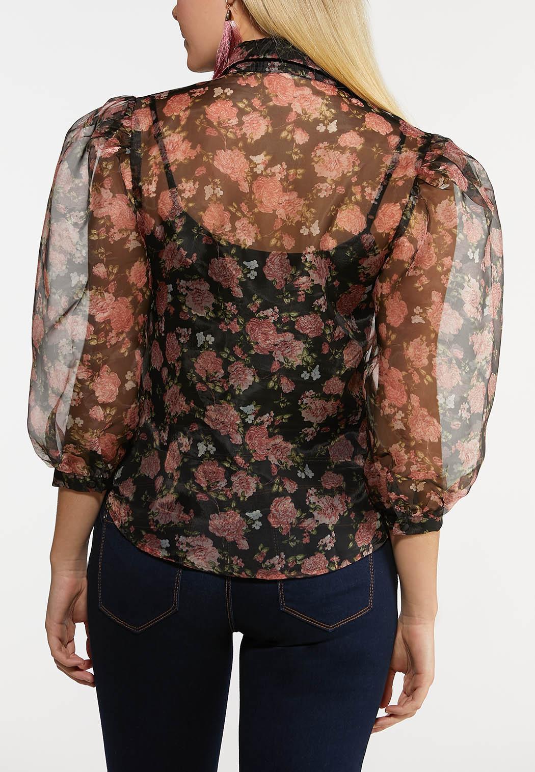 Floral Sheer Puff Sleeve Top (Item #44224817)