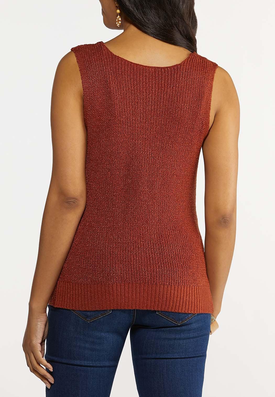 Plus Size Twist Front Sleeveless Sweater (Item #44225198)