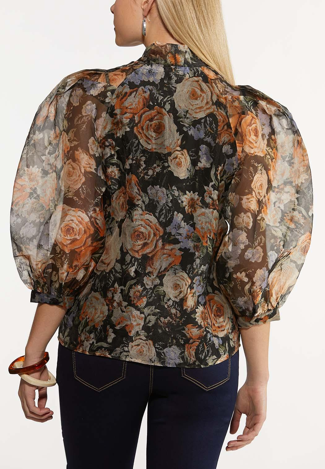Plus Size Dark Floral Puff Sleeve Top (Item #44225206)