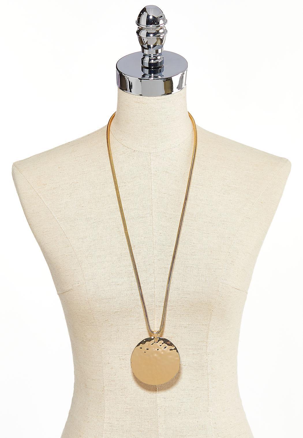 Hammered Gold Disk Necklace (Item #44225945)