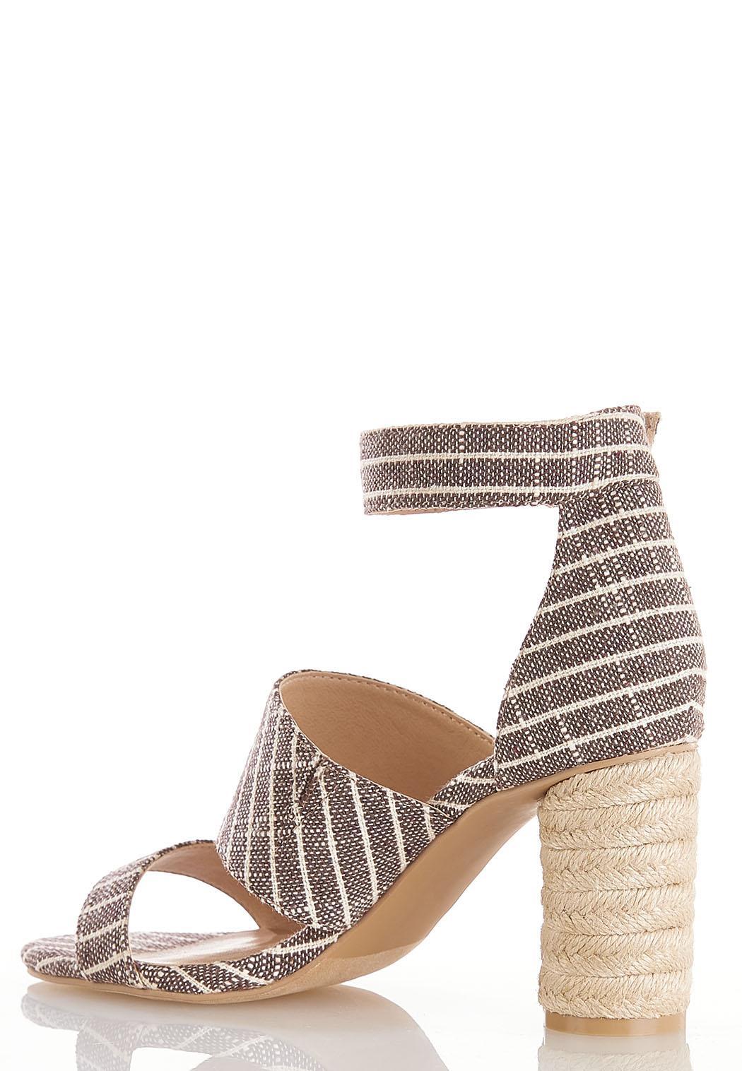 Cylinder Heel Linen Sandals (Item #44226346)