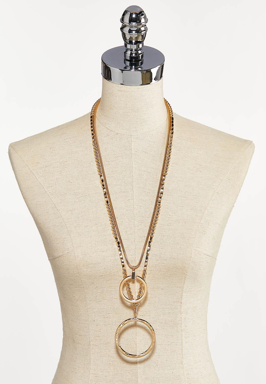 Layered Bead Hoop Pendant Necklace (Item #44227015)