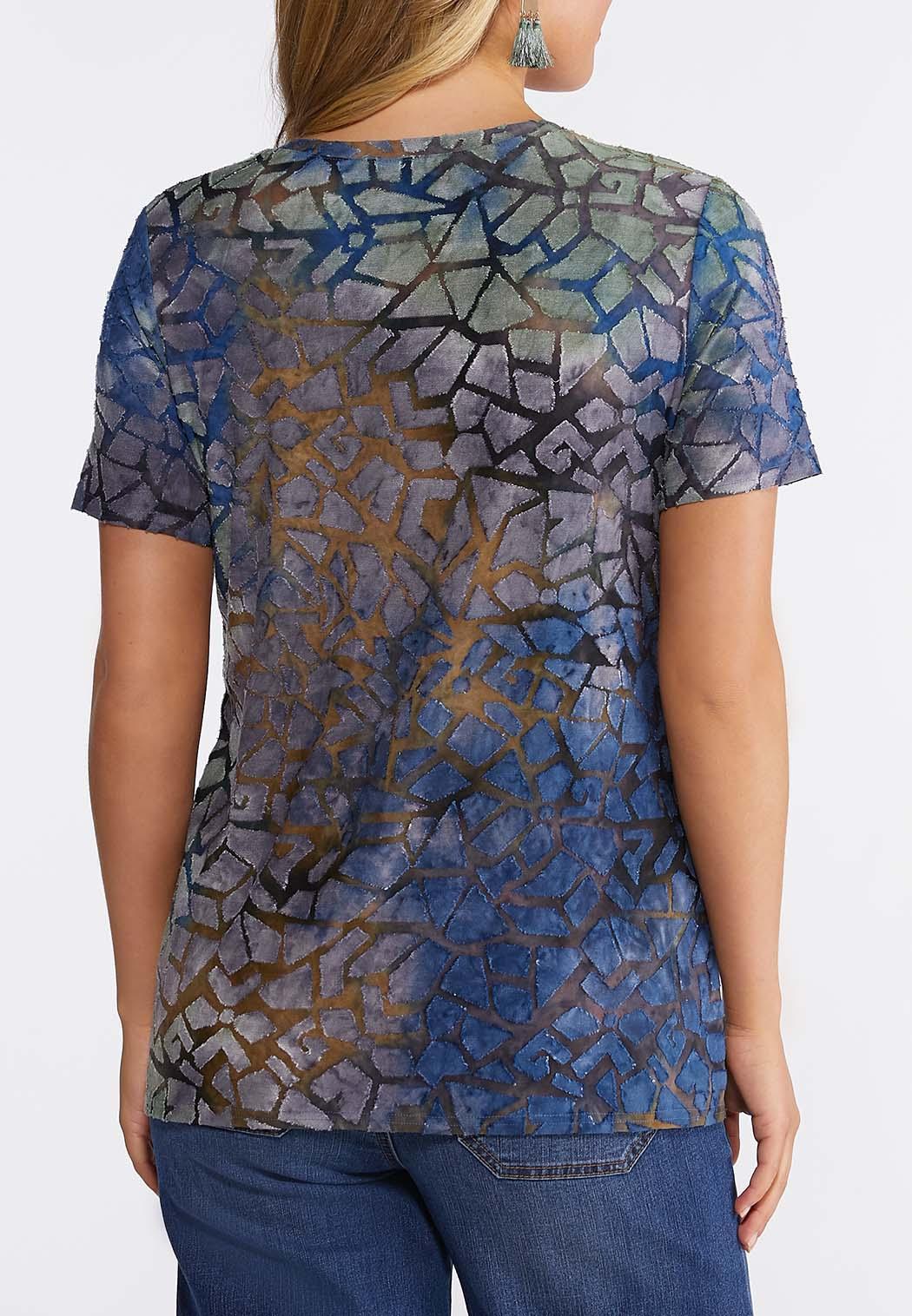 Plus Size Textured Mosaic Tee (Item #44227391)