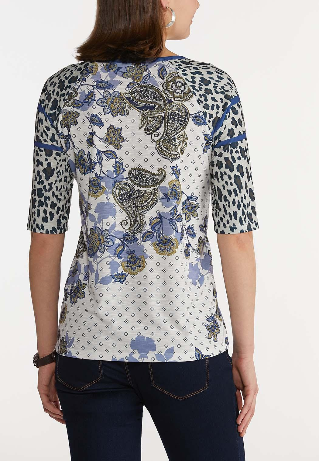 Plus Size Mixed Leopard Paisley Top (Item #44228527)