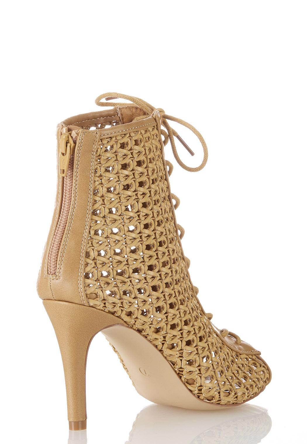 Wide Width Open Weave Lace Up Booties (Item #44228528)