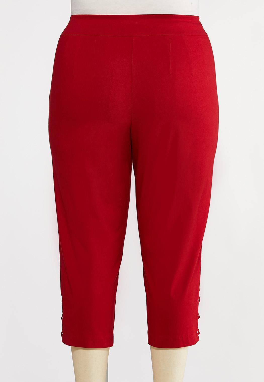 Plus Size Cropped Red Lattice Pants (Item #44228756)