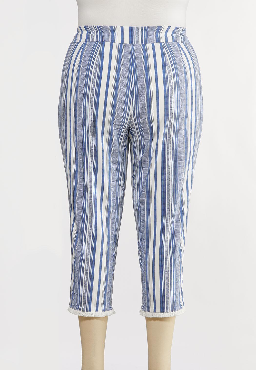 Plus Size Striped Fringe Pants (Item #44229529)