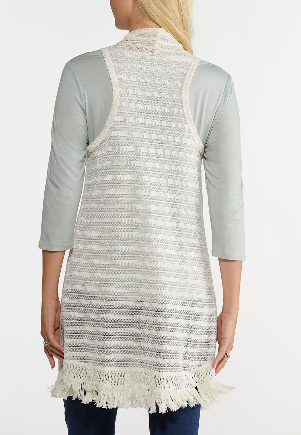 Plus Size Ivory Fringe Vest (Item #44229991)