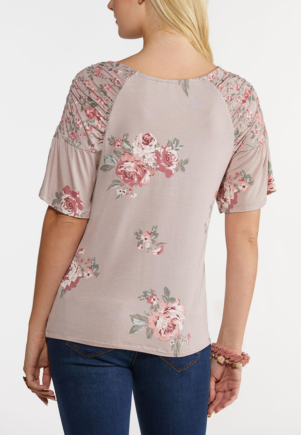 Plus Size Mauve Floral Top (Item #44230320)