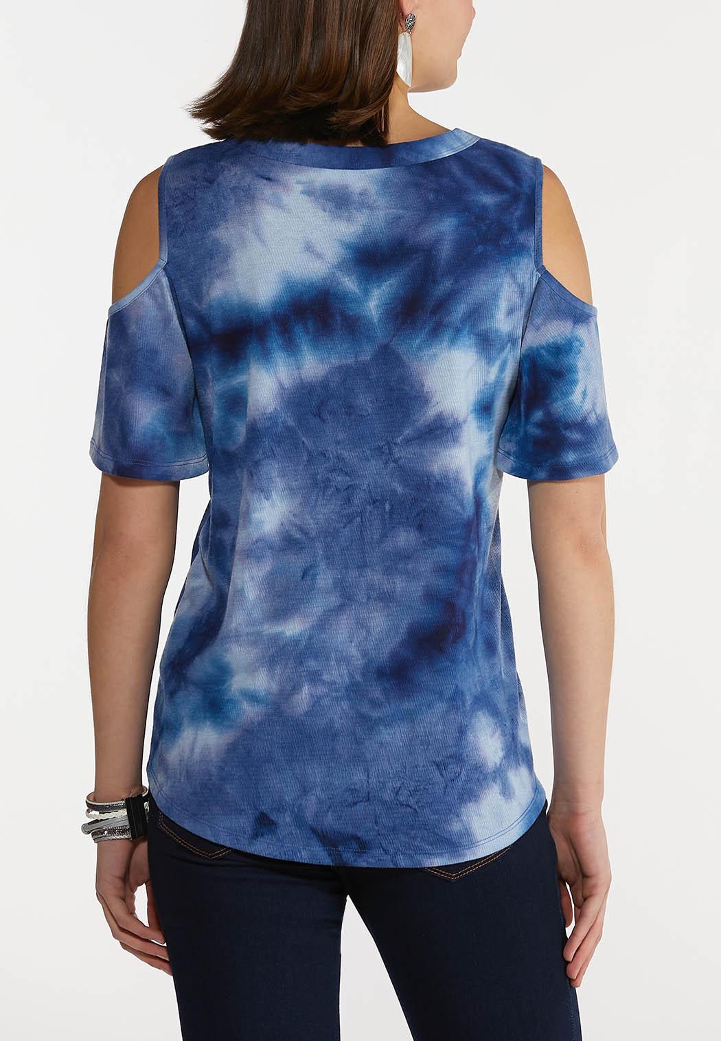 Plus Size Tie Dye Cold Shoulder Top (Item #44230508)