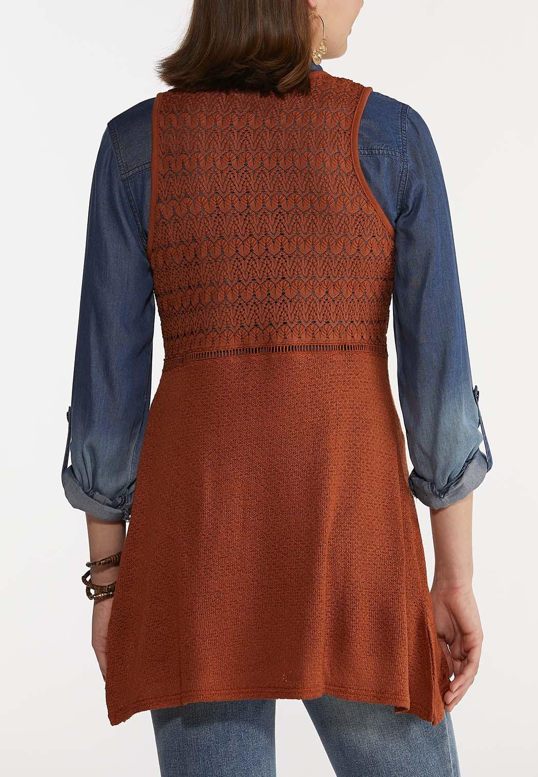 Plus Size Rust Crochet Sweater Vest (Item #44230651)
