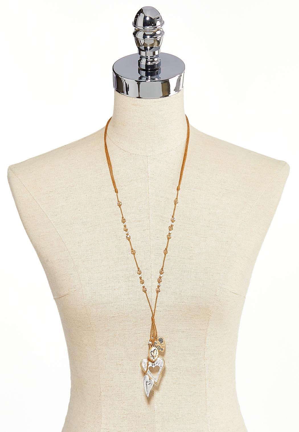 Filigree Heart Charm Cord Necklace (Item #44231183)