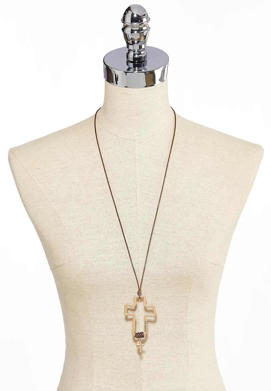 Corded Psalm Cross Pendant Necklace (Item #44231189)