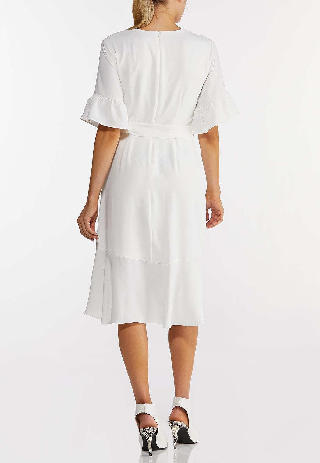 Plus Size White Faux Wrap Dress (Item #44231430)