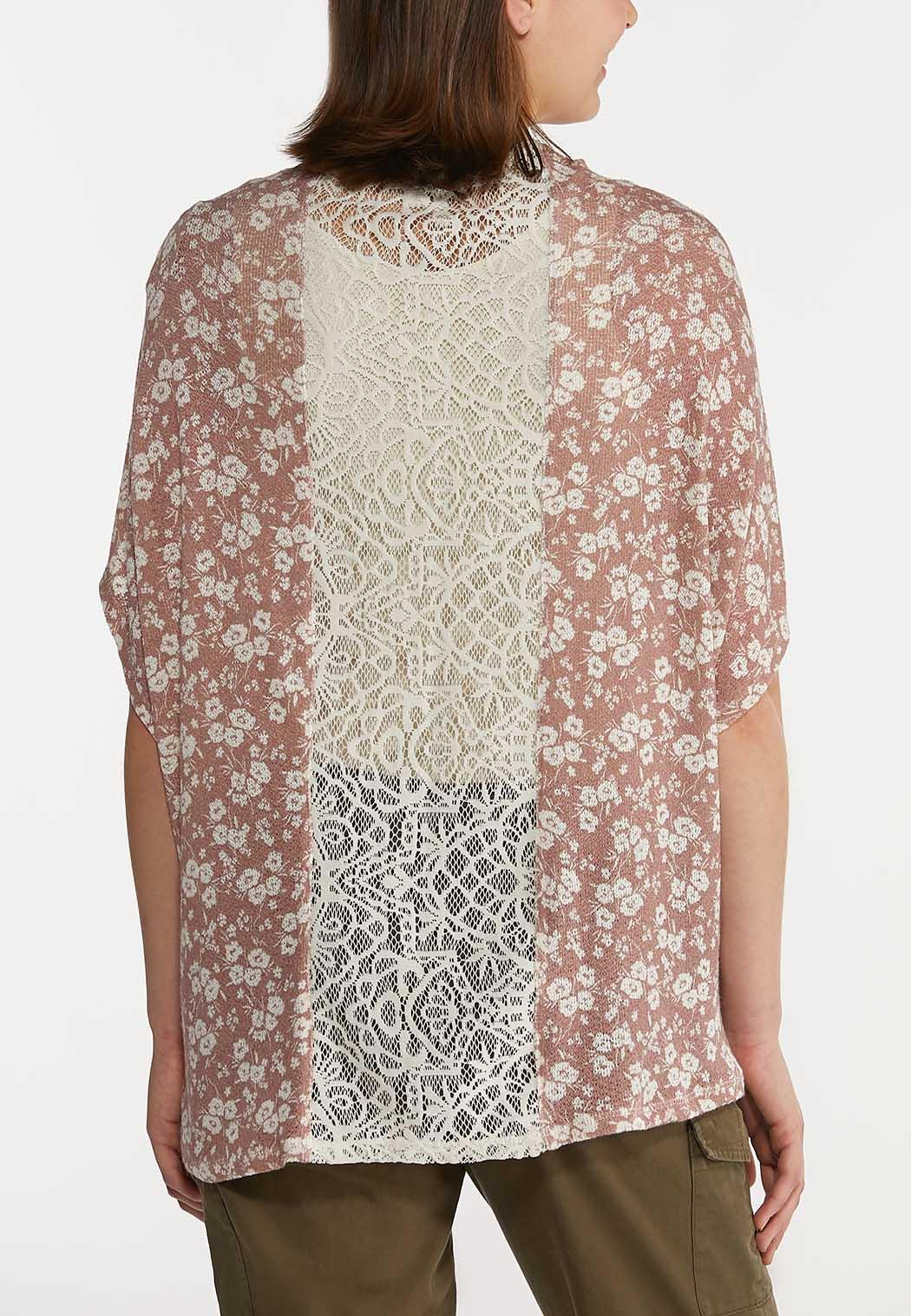 Plus Size Lace Trim Mauve Floral Cardigan (Item #44231844)