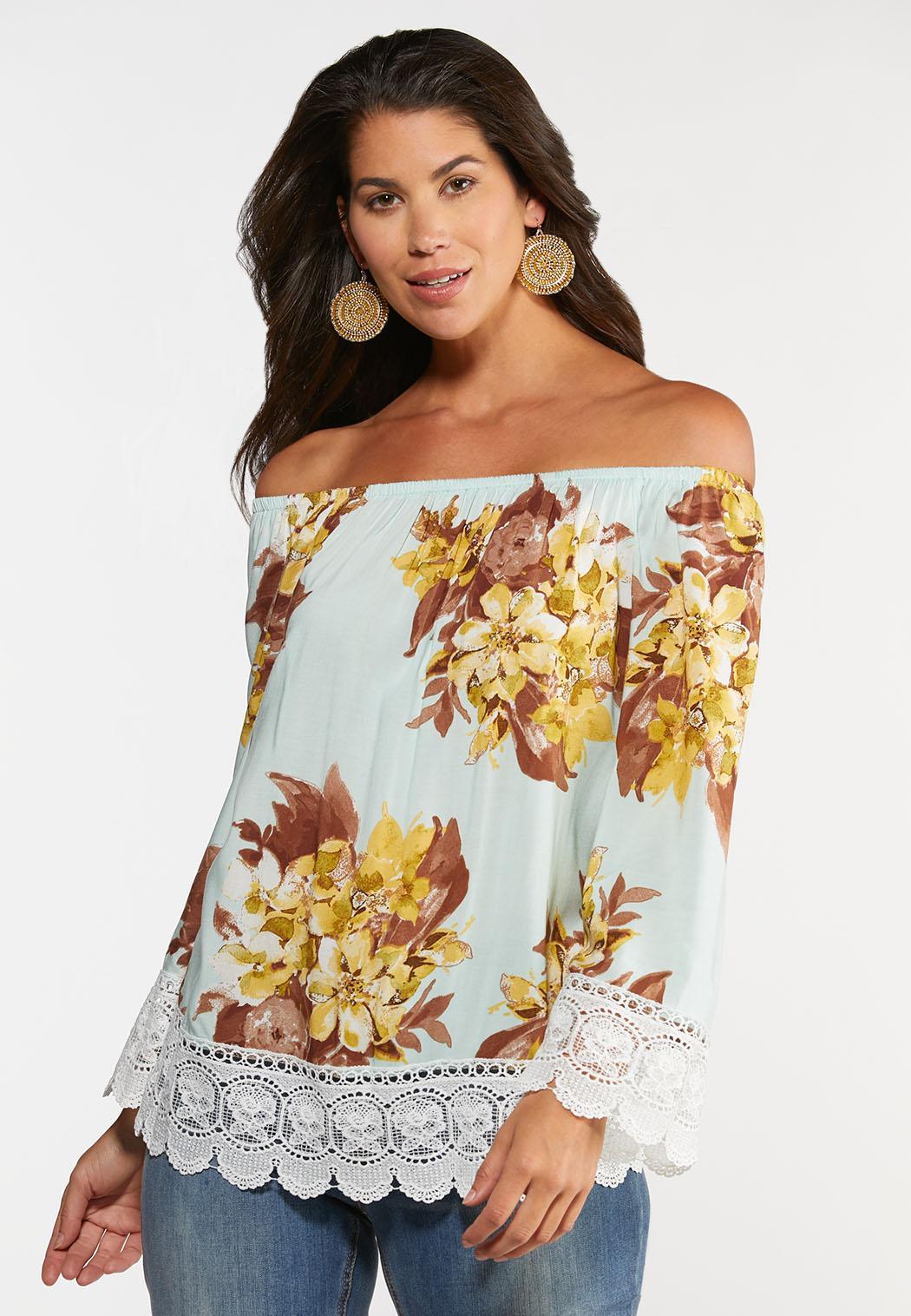 Floral Crochet Trim Top (Item #44231935)