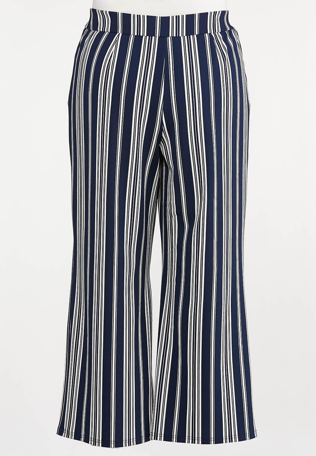 Plus Size Navy Stripe Palazzo Pants (Item #44231984)