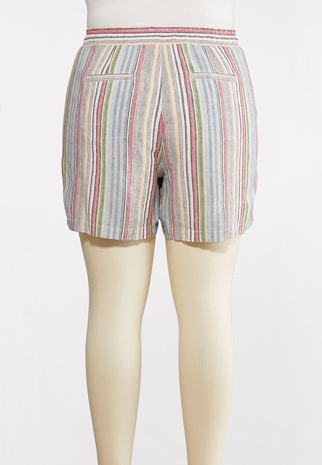 Plus Size Muted Stripe Beach Shorts (Item #44232162)