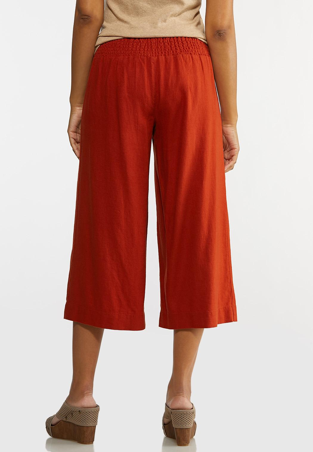 Cropped Solid Linen Pants (Item #44232252)