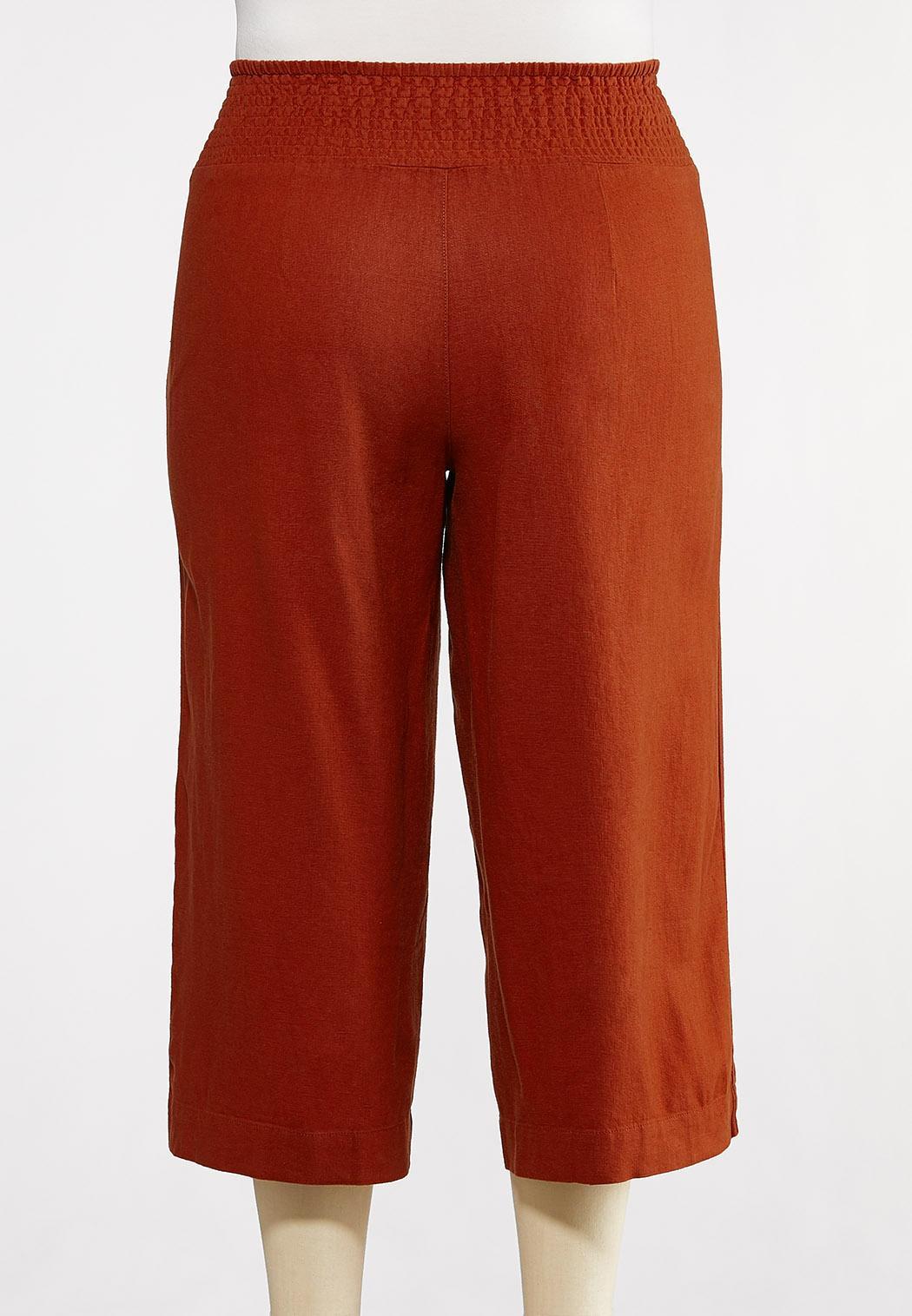 Plus Size Cropped Solid Linen Pants (Item #44232305)