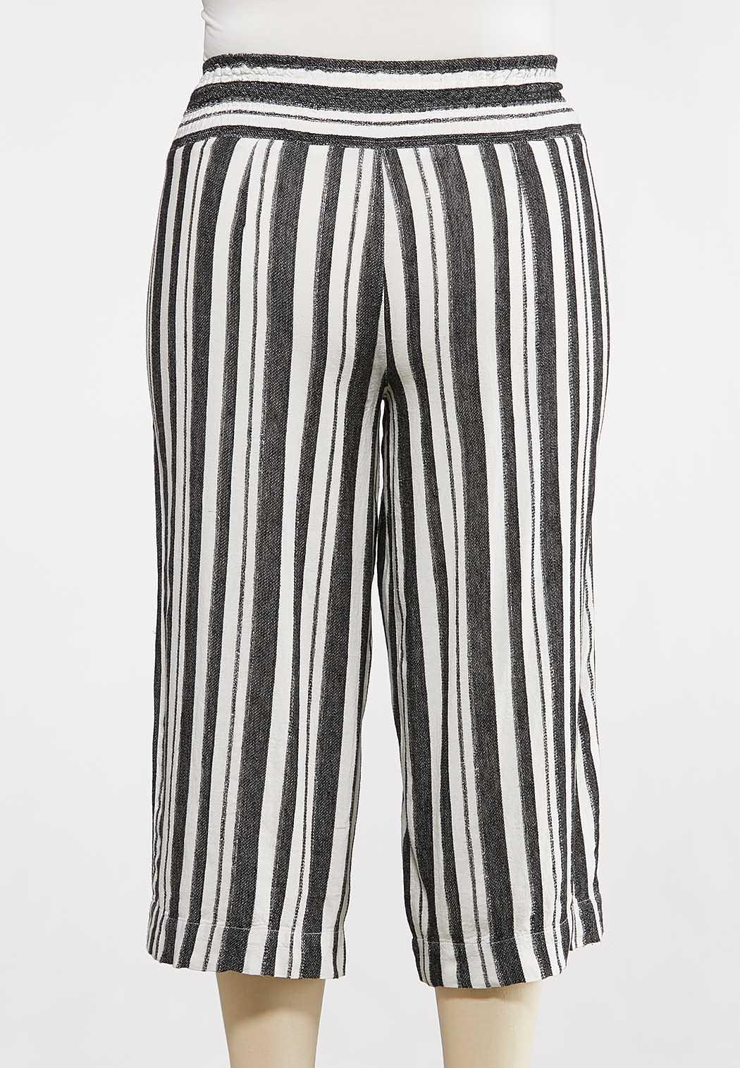 Plus Size Metallic Stripe Cropped Pants (Item #44232359)