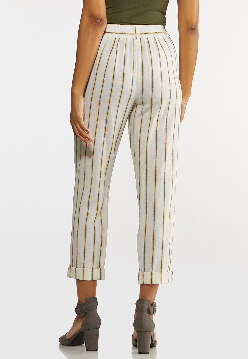 Cropped Striped Linen Pants (Item #44232372)
