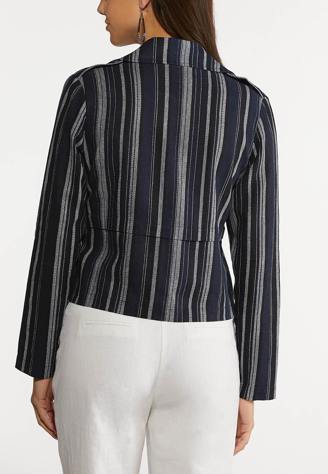 Navy Stripe Linen Jacket (Item #44232642)