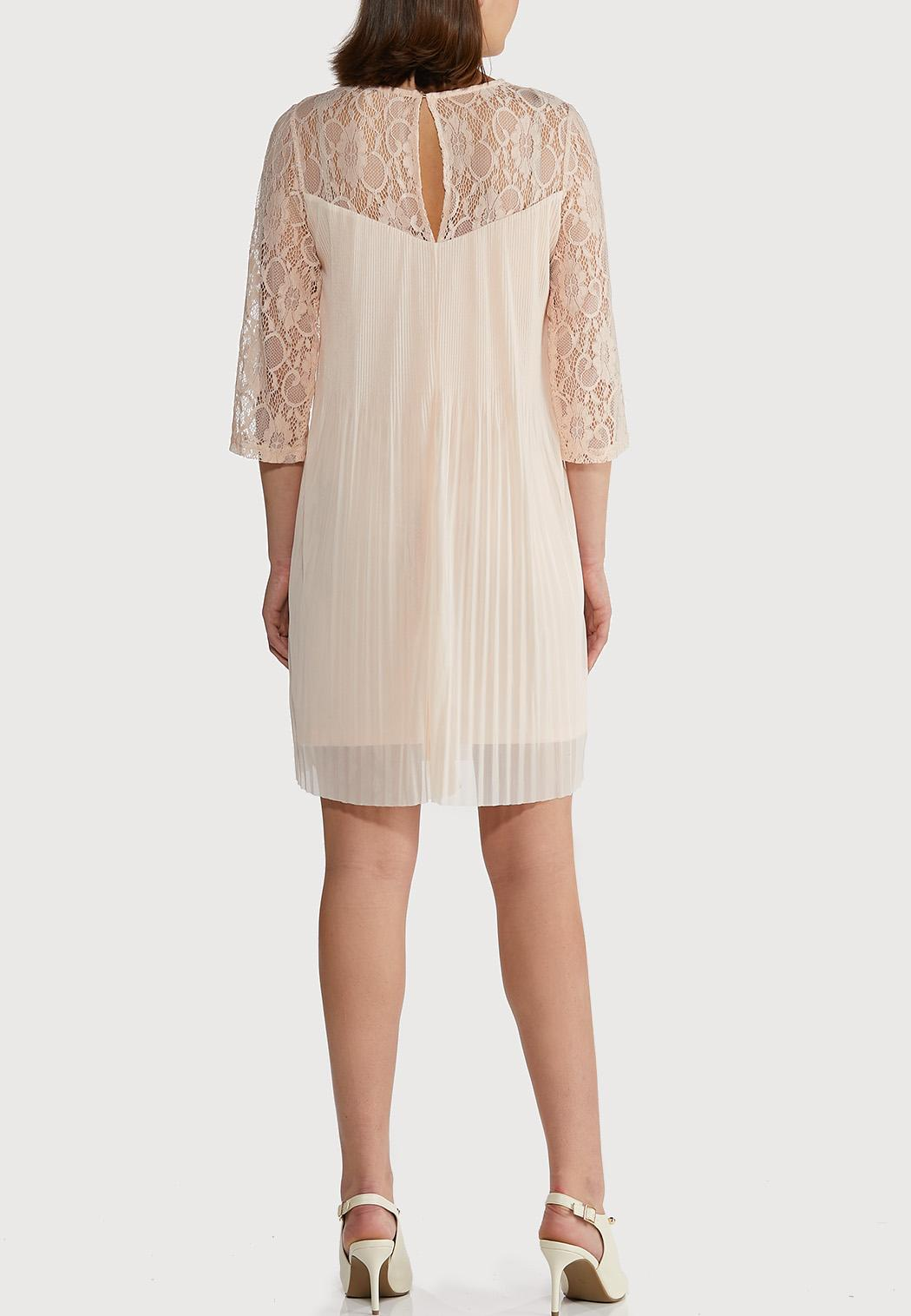 Plus Size Pleated Lace Sleeve Dress (Item #44232694)