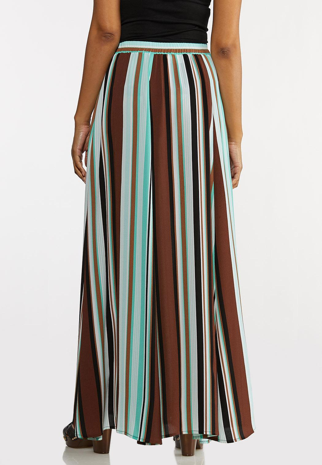 Plus Size Stripe Crepe Maxi Skirt (Item #44232816)