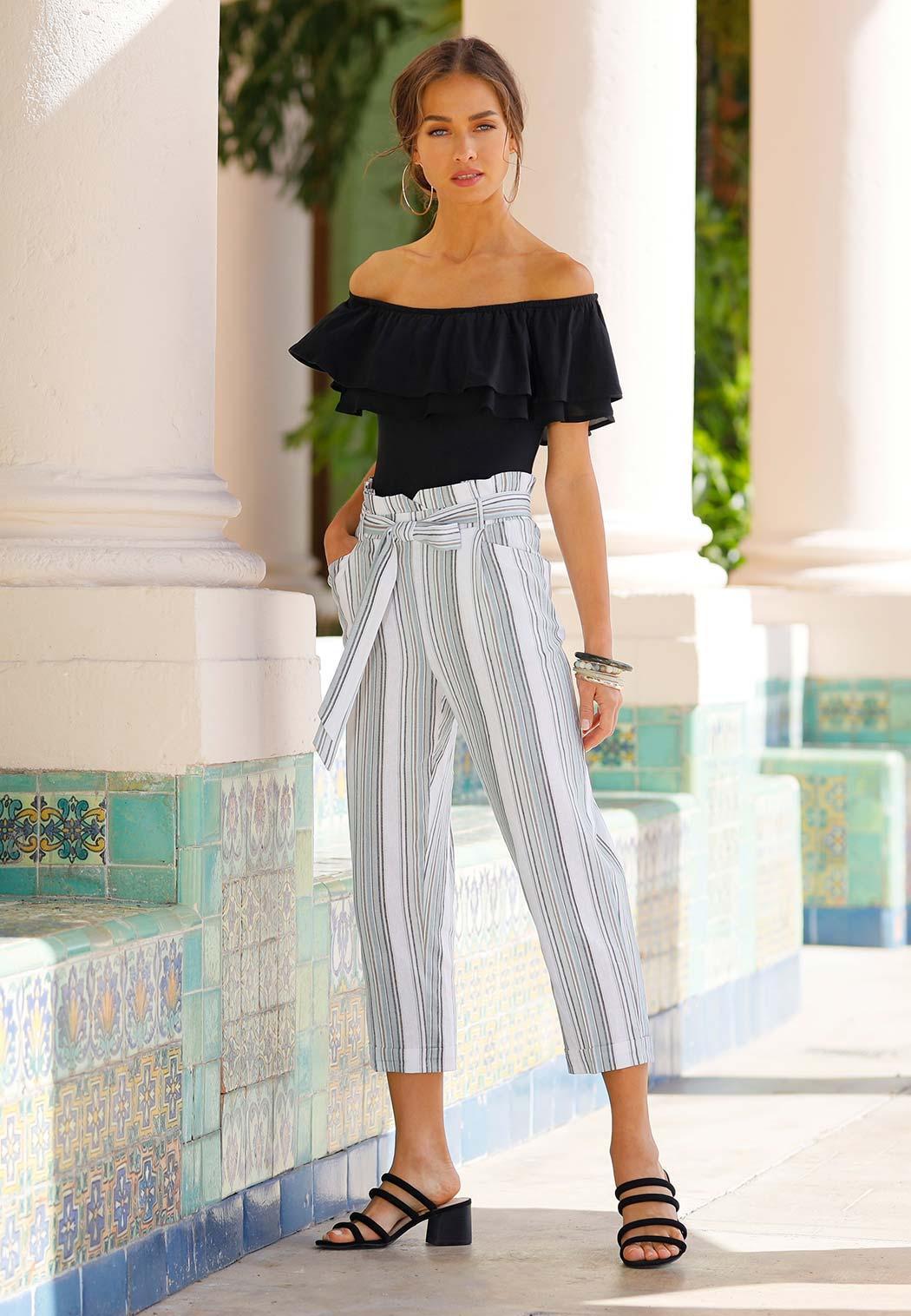 Plus Size Olive Stripe Linen Pants (Item #44232966)