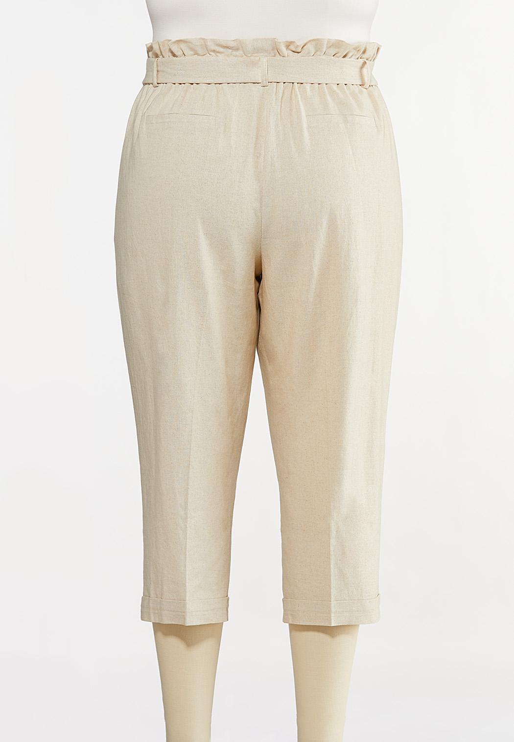 Plus Size Linen Paperbag Waist Pants (Item #44233003)