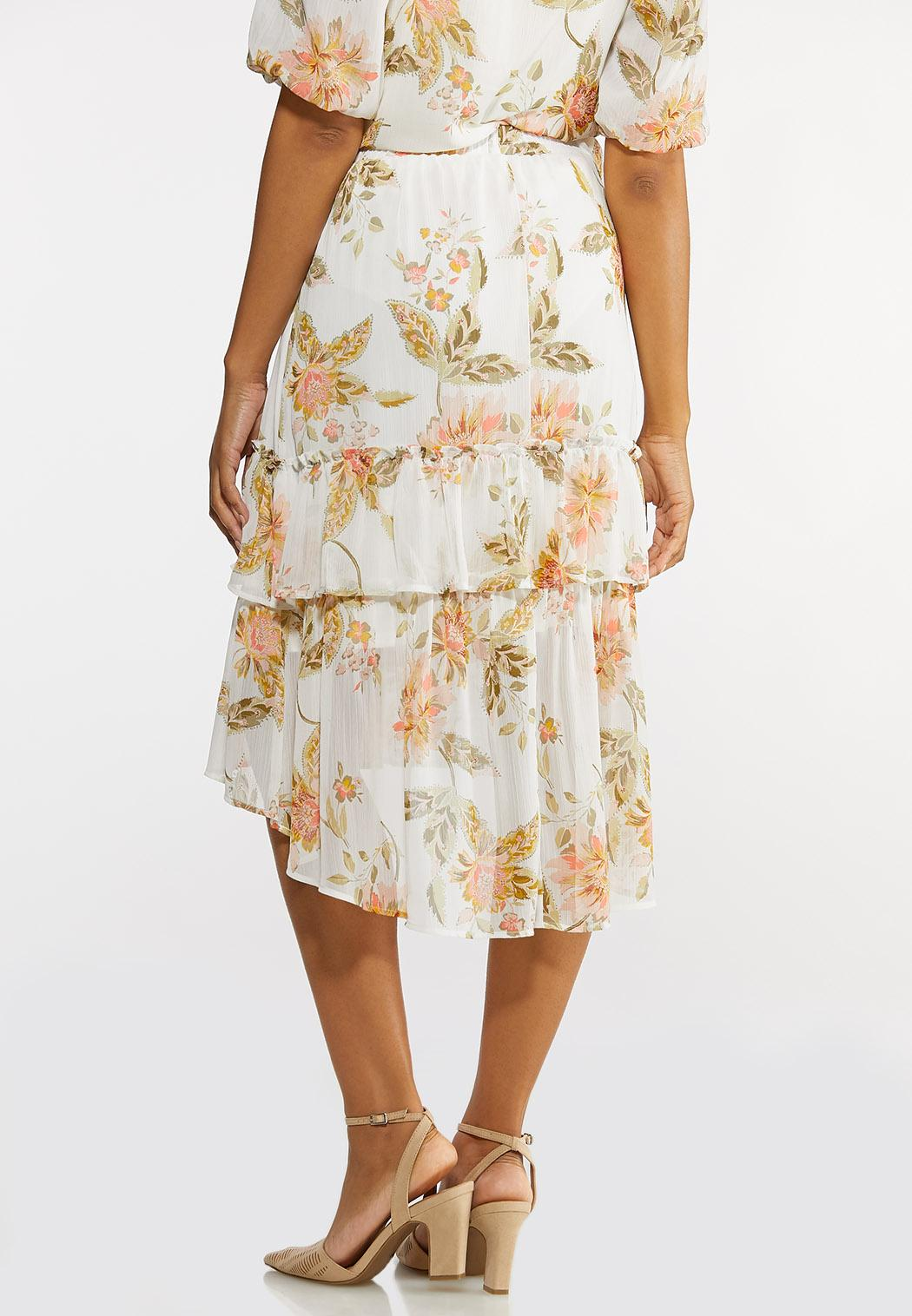 Dreamy Floral Tiered Midi Skirt (Item #44233290)