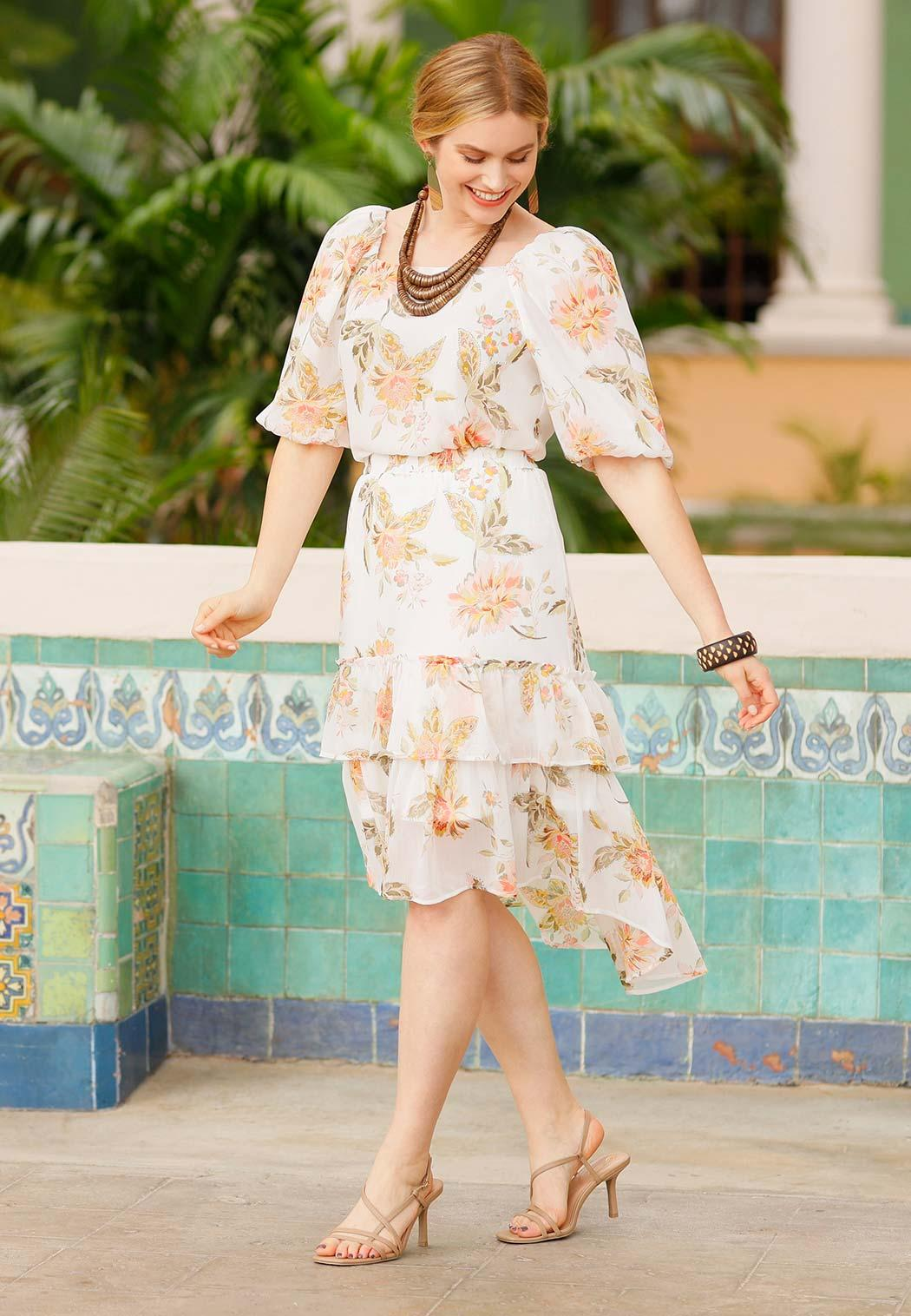 Plus Size Dreamy Floral Tiered Midi Skirt (Item #44233326)